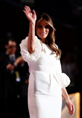 Melania Trump, wife of Presumptive Republican presidential nominee Donald Trump, waves to the crowd after delivering a speech on the first day of the Republican National Convention on July 18, 2016 at the Quicken Loans Arena in Cleveland, Ohio. An estimated 50,000 people are expected in Cleveland, including hundreds of protesters and members of the media. The four-day Republican National Convention kicks off on July 18.  (Photo by Win McNamee/Getty Images)