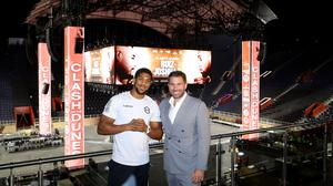 Anthony Joshua and Eddie Hearn at the Diriyah Arena in Saudi Arabia: 'But we can't accept a deal to have a fight with another man in the most brutal sport because of someone's opinion on sportswashing?' Photo: Richard Heathcote/Getty Images