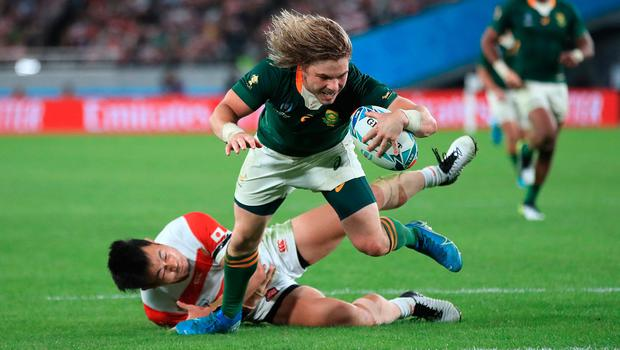 TRY: South Africa's Faf de Klerk scores his side's second try against Japan. Photo: PA