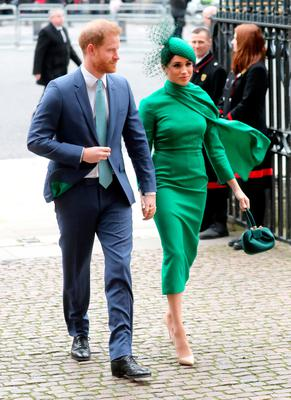 Prince Harry, Duke of Sussex and Meghan, Duchess of Sussex attend the Commonwealth Day Service 2020 at Westminster Abbey on March 09, 2020 in London, England