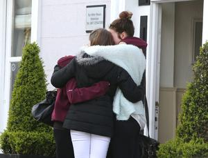 Mourners outside Quinns Funeral home in Glastuale where Ana Hick is reposing. Picture credit; Damien Eagers