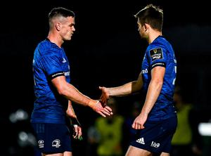 Leinster's Jonathan Sexton is replaced by Ross Byrne at the RDS Arena last night. Photo: Sportsfile