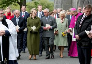 News 20052015. No Repro Fee The Prince of Wales and Former President of Ireland Mary McAleese after attending a  Service for Peace and Reconciliation at St. Columba's Church Drumcliff , Sligo on the second day their visit to the west of Ireland.  Photo Chris Bellew / Copyright Fennell Photography 2015
