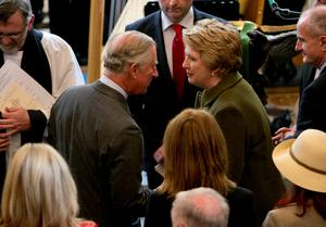 The Prince of Wales (centre left) meets Former President of Ireland Mary McAleese (centre right) as he attends a peace and reconciliation prayer service at St. Columba's Church in Drumcliffe on day two of a four day visit to Ireland. PRESS ASSOCIATION Photo. Picture date: Wednesday May 20, 2015. See PA story ROYAL Ireland. Photo credit should read: Colm Mahady/PA Wire