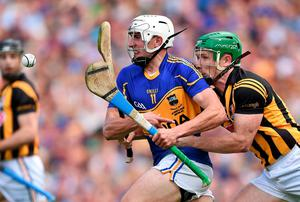 Tipperary's Patrick Maher is taken down by Paul Murphy of Kilkenny, resulting in referee Barry Kelly awarding a penalty during the All-Ireland hurling final at Croke Park. Photo: Stephen McCarthy / SPORTSFILE