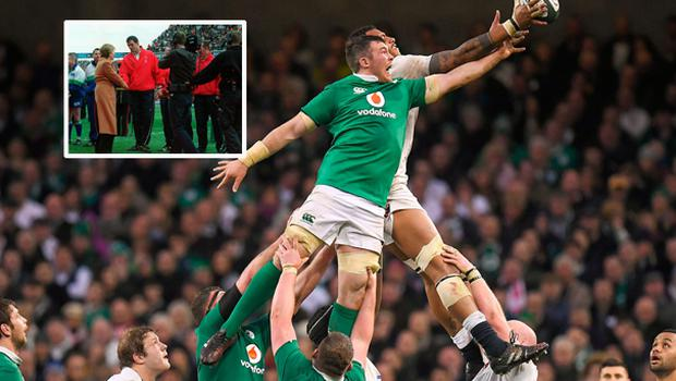 Peter O'Mahoney in action against France and (inset)  the red carpet incident