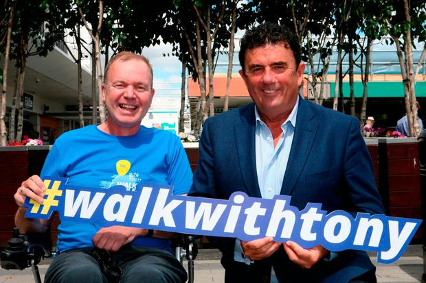 BEST FOOT FORWARD: Fr Tony Coote of Walk While You Can (WWYC.ie) with Des Cahill of RTE. donate@wwyc.ie