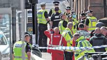 Emergency services at the scene of the incident at West George Street in Glasgow.