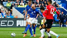 Esteban Cambiasso scores Leicester City's equalising third goal during their win over Manchester United at the King Power Stadium. Photo: Clive Rose/Getty Images