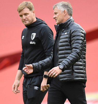Manchester United manager Ole Gunnar Solskjaer and Bournemouth boss Eddie Howe. Photo: Reuters