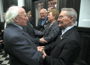 President Michael D Higgins and wife Sabina meets WW2 veteran Albert Sutton and survivors Suzi Diamond and Tomi Reichental at the Holocaust memorial Day at the Mansion House in Dublin. Picture:Arthur Carron
