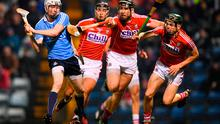 Fionntán Mac Gib of Dublin in action against Cork players, from left, Killian Burke, Mark Ellis and Mark Coleman during the Allianz Hurling League Division 1A Round 2 match between Cork and Dublin at Páirc Uí Rinn in Cork. Photo by Stephen McCarthy/Sportsfile