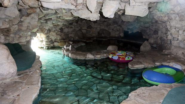 A view of the Grotto is seen at the 35th Anniversary Playboy Jazz Festival news conference at the Playboy Mansion