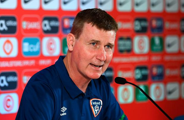 Ireland manager Stephen Kenny during a press conference at Estádio Algarve in Faro ahead of this evening's World Cup qualifier. Photo: Stephen McCarthy/Sportsfile