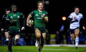 Connacht's Kyle Godwin on his way to scoring his side's fourth try. Photo: Sportsfile
