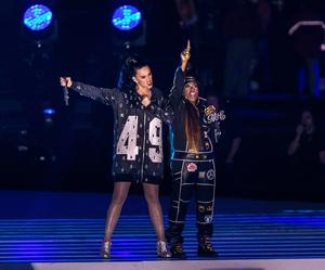 Recording artists Katy Perry and Missy Elliott perform onstage during the Pepsi Super Bowl XLIX Halftime Show at University of Phoenix Stadium on February 1, 2015 in Glendale, Arizona.  (Photo by Christopher Polk/Getty Images)
