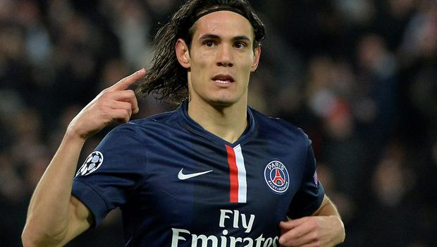 Paris Saint-Germain forward Edinson Cavani celebrates after scoring his side's equaliser in their Champions League round-of-16 clash with Chelsea at the Parc des Princes. Photo: AFP PHOTO / MIGUEL MEDINAMIGUEL MEDINA/AFP/Getty Images