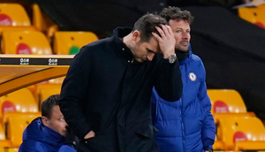 Chelsea manager Frank Lampard reacts to a late Wolves winner. Photo: Pool via REUTERS/Tim Keeton