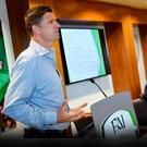 Whole new ball game: Niall Quinn speaks at the National League strategic planning weekend at FAI headquarters in Abbotstown, last year. Photo: SPORTSFILE