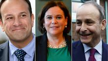 Leo Varadkar, Mary Lou McDonald and Micheal Martin