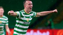 Celtic's David Turnbull celebrates scoring his side's goal. Photo: PA