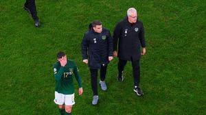 Ciaran Clark, Seamus Coleman and Republic of Ireland manager Mick McCarthy following the UEFA EURO2020 Qualifier match between Republic of Ireland and Denmark at the Aviva Stadium in Dublin. Photo by Ramsey Cardy/Sportsfile