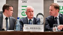 World Anti-Doping Agency (WADA) President-Elect Witold Banka, WADA President Craig Reedie and WADA Director General Olivier Niggli attend a press conference in Lausanne. Photo: Fabrice Coffrini