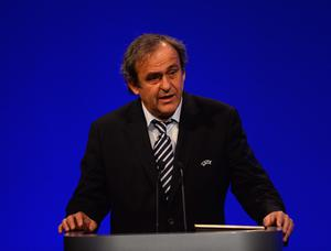UEFA President Michel Platini addresses the room during the XXXVII Ordinary UEFA Congress in London. (Photo by Laurence Griffiths/Getty Images)
