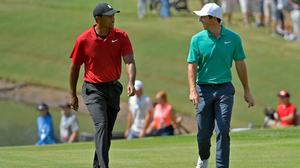 Rory McIlroy with Tiger Woods on the first hole of the final round of the Tour Championship in 2018: 'I wanted to give a really good account of myself. To take the fight to him.' Photo: Stan Badz/PGA TOUR