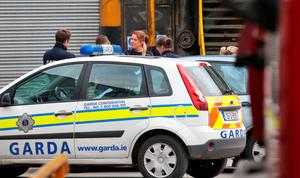 Gardai at the Thorntons Recycling plant on Kileen Road, Ballyfermot, pictured this morning