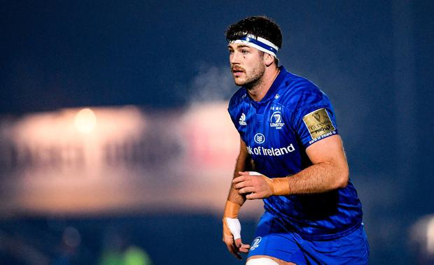 MAKING STRIDES: Caelan Doris has put himself in the frame for the Six Nations thanks to his displays for Leinster. Photo: Ramsey Cardy/Sportsfile