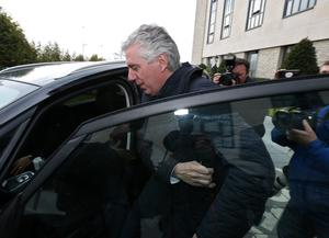 John Delaney leaving the Carlton Hotel after a meeting with the board of the FAI