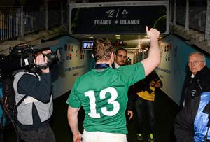 Brian O'Driscoll, Ireland, leaves the pitch after the game