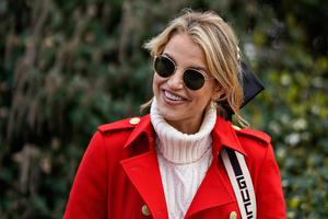 Vogue Williams is an Irish model and media personality as she poses on Ladies Day at Cheltenham Racecourse on March 11, 2020 in Cheltenham, England. (Photo by Alan Crowhurst/Getty Images)