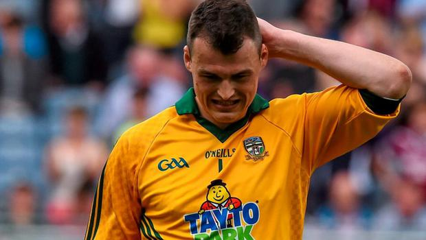 A dejected Paddy O'Rourke, Meath, after he was sent off during the game