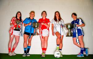 Attending the Ladies Football Finals' photocall were team captains Michelle McMahon (Louth); Carla Rowe (Dublin); Ciara O'Sullivan (Cork); Aisling Holton (Kildare) and Linda Wall (Waterford)