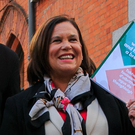 Promises: Housing spokesperson Eoin Ó Broin, finance spokesperson Pearse Doherty, president Mary Lou McDonald and Shane O'Brien, candidate for Dún Laoghaire, at the launch of Sinn Féin's General Election manifesto at the Temple Bar Gallery and Studios in Dublin. Photo: Collins