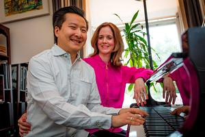 Pianists Dr Archie Chen and Rhonda Gouldson at their home in Rathgar, Dublin. Picture: Arthur Carron