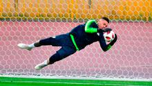 Brazil goalkeeper Ederson leaps through the air to make a save during training ahead of the quarter-final clash against Belgium. Photo: Getty Images