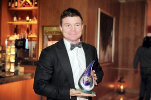 Brian O'Driscoll with his Bord Gais Energy Sports Book Award at the Bord Gais Energy Irish Book Awards at the Double Tree by Hilton Hotel in Dublin. Picture:Arthur Carron