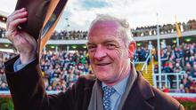 Willie Mullins celebrates after he sent out Al Boum Photo to win the Cheltenham Gold Cup which helped him take the Festival's Irish Independent Leading Trainer Award. Photo: David Fitzgerald/Sportsfile