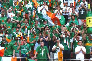 Ireland fans cheer on their side against Cameroon at the Big Swan Stadium, Niigata, Japan. Picture credit; David Maher / SPORTSFILE *EDI*