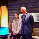 Prince Charles meeting climate activist Greta Thunberg after he gave a speech to the World Economic Forum in Davos, Switzerland Photo credit: Clarence House/PA Wire