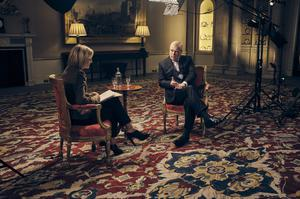 The Duke of York, speaking for the first time about his links to Jeffrey Epstein in an interview with BBC Newsnight's Emily Maitlis (Mark Harrison/BBC)