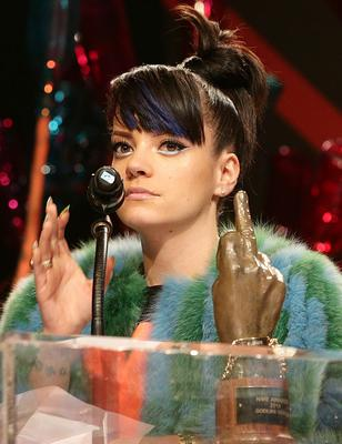 Lily Allen on stage during the 2014 NME Awards, at Brixton Academy, London. PRESS ASSOCIATION Photo. Picture date: Wednesday February 26, 2014. Photo credit should read: Yui Mok/PA Wire