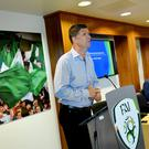 Former Ireland international Niall Quinn speaking on the Future of the National League on day one of the National League Strategic Planning Weekend at FAI Headquarters in Abbotstown, Dublin last July. Photo by Ramsey Cardy/Sportsfile