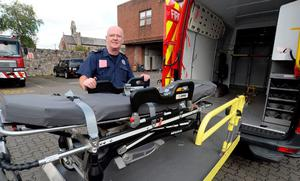 Dublin Fire Brigade's Peter Hedderman with the Incident Support Unit's stretcher for the obese patient
