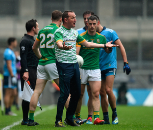 NOT HAPPY: Meath manager Andy McEntee argues with referee Seán Hurson during the Leinster SFC Final yesterday. Photo by Daire Brennan/Sportsfile