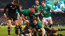 Jacob Stockdale celebrates scoring a try during Ireland's only win over New Zealand on home soil at the Aviva Stadium back in 2018. Photo by Ramsey Cardy/Sportsfile