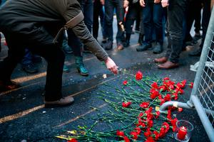 People leave flowers outside the Istanbul nightclub which was attacked by a gunman Photo: AP Photo/Emrah Gurel